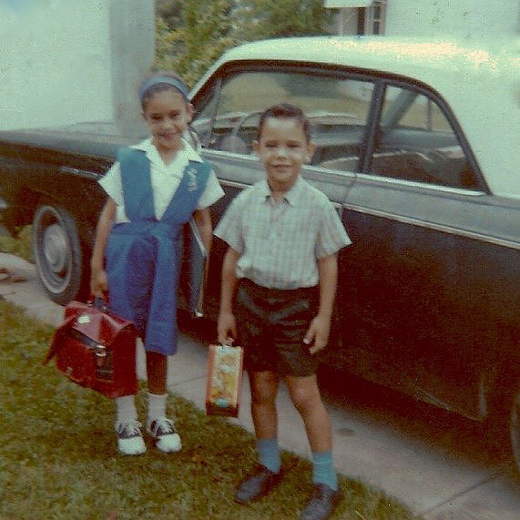 Carlos, My Brother, and Me Carrying Our Lunch First Day of School at Sts. Peter & Paul, Miami, 1964